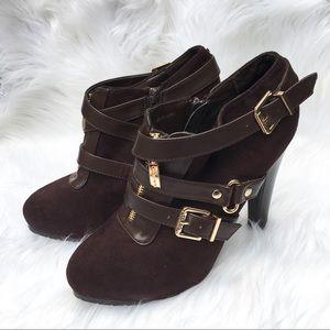 Guess GFMarissa Suede Heeled Boots Buckle Booties